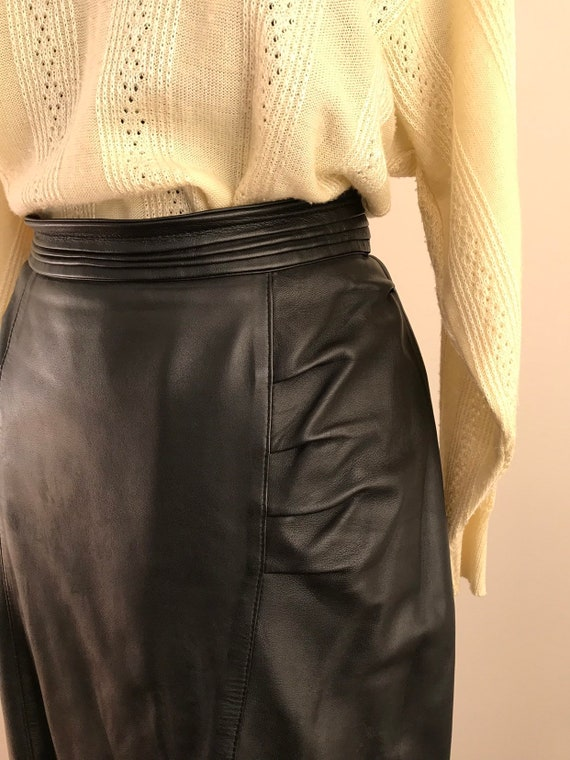 1980s Black Genuine Leather Vintage Skirt / Mid-ca