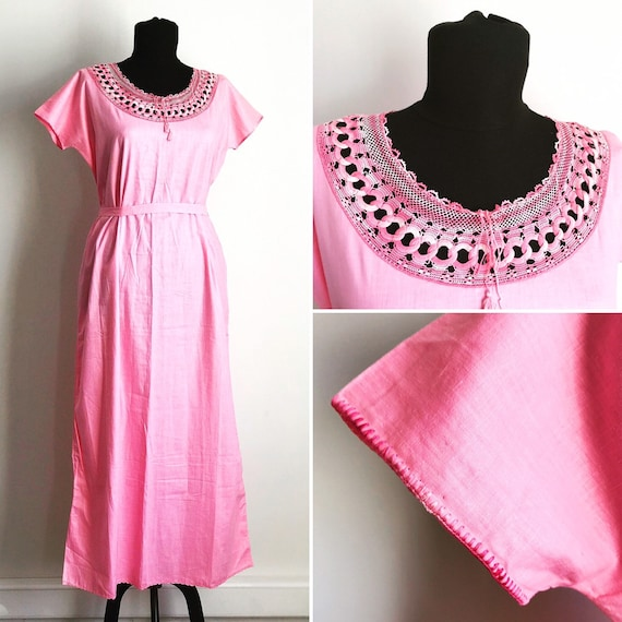 1970s Vintage Romantic Pink Night Gown with Chroch