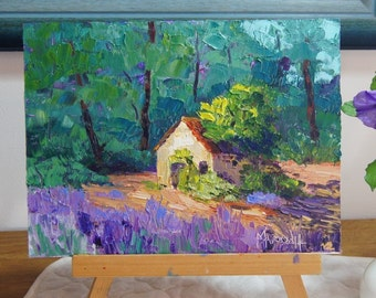 Original Impressionist painting, Provence Landscape, Lavender Field, Knife, Oil painting, French countryside, 7x10, impasto painting Cabanon