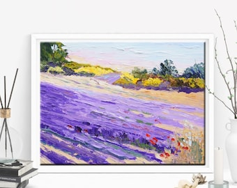 """Original Oil painting, Impressionist Provence Landscape, Lavender and Yellow Palette Knife Oil painting -  ca. 7x10"""" small format art"""