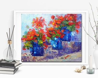 Impressionist Flower Painting, Blue Pottery, Geranium container flowers, Summer Flowers, original oil painting by Marion Hedger, 10x12inch