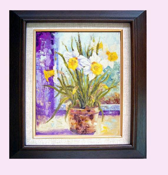 Antique oil painting still life Spring floral botanical art impressionist Impasto landscaping biophilia room freshenerTulip Daffodil 19th c.