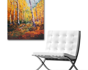 Made-to-order, Art Commission, Silver Birch Trees Landscape Painting, Autumn Light, Fall painting of Aspen Tress, Original oil painting