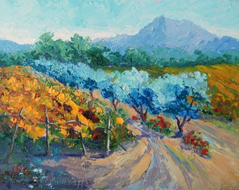 """Impressionist Oil Painting, French Countryside, Provence Landscape Palette Knife painting,  7x10"""", small format art by Marion Hedger,"""