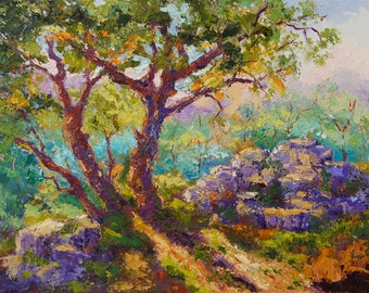 """Impressionist Landscape Oil Painting, Provence Landscape, Palette Knife painting, Last Sunlight, Tree and Rocks Oil painting, 12""""x16"""""""