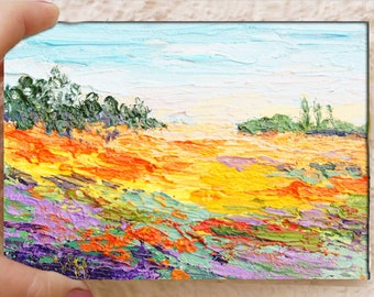 Original Impressionist floral landscape painting, Spring Meadow, Miniature Treasure, palette knife oil painting, 4x6inch, Impasto painting