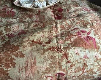 Red Browns Cream Cotton Cretonne Panel 19C Antique Fabric Panel Court Life /& Pastoral Scenes Decorative Antiques French Toile Textile
