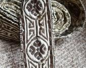 "Antique trim Arts & Crafts superb quality metal and linen woven tape  OOAK Pre-Raphaelite 80"""