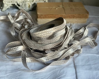 Antique French Metallic Trim. Art Deco Braid. Silver Upholstery Trim. Vintage 1900 METALIC TAPE French Ribbon Arts & Craft Supplies / 1m