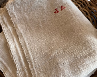 Antique Tea Towel Large Cotton Dishcloth Monogram JA/ 1pc /Vintage Gift & Wedding Present. French Kitchen Home Decor Farmhouse