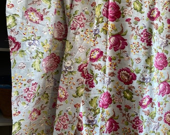 Vintage Fabric, Antique Fabric Panel Pink Peonies & Lilies Floral Barkcloth. French Textile Furnishings/ Home Decor, BrocanteArt Style/ 1y