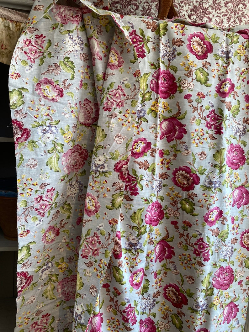 Vintage Fabric Antique Fabric Panel Pink Peonies & Lilies image 0