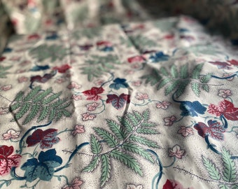"""Vintage Fabric. Floral Blue Chintz Picotage, Cotton Fabric /French Home Decor, Curtains, Cushions, Furnishings Textile / 22"""" x 52"""""""