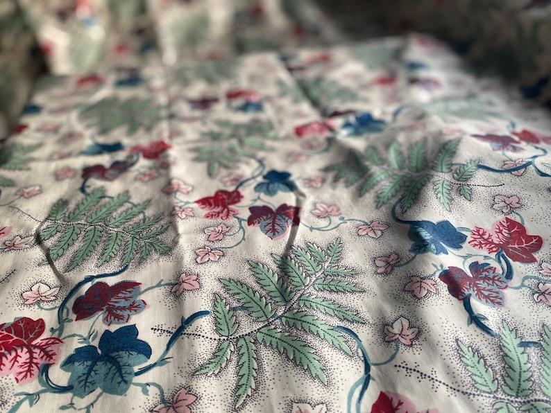 Vintage Fabric. Floral Blue Chintz Picotage Cotton Fabric image 0
