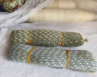 Vintage French Tape. Double Ribbon Trim. Sewing Cord Gimp, Antique Haberdashery, Blue or Green tape. Millinery Period Costume & Dolls/ 3m