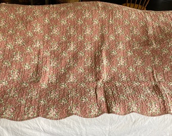 """Vintage Style Floral Quilt, Vintage Double Sided Bed Cover Floral Textile /Provencal. French Home Decor Shabby Chic, Furnishings 51"""" x 71"""""""
