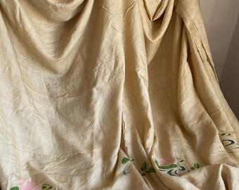 Antique Silk Bedspread Throw, Vintage Art Deco Shawl. 1910s Heirloom, Authentic Edwardian Home Decor, Vintage Wedding / Pre Raphaelite