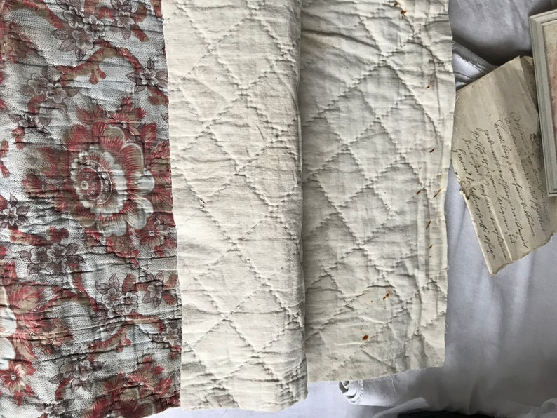 Antique French Quilt Panel Floral Madder Textile Vintage Fabric Provencal French Home Decor Furnishing Antiques 36x 30