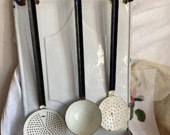 Antique Enamel Utensil Holder, Spoon & Sieves. Vintage French Decor White Enamelware. Rustic Farmhouse Kitchen. Country Home BrocanteArt