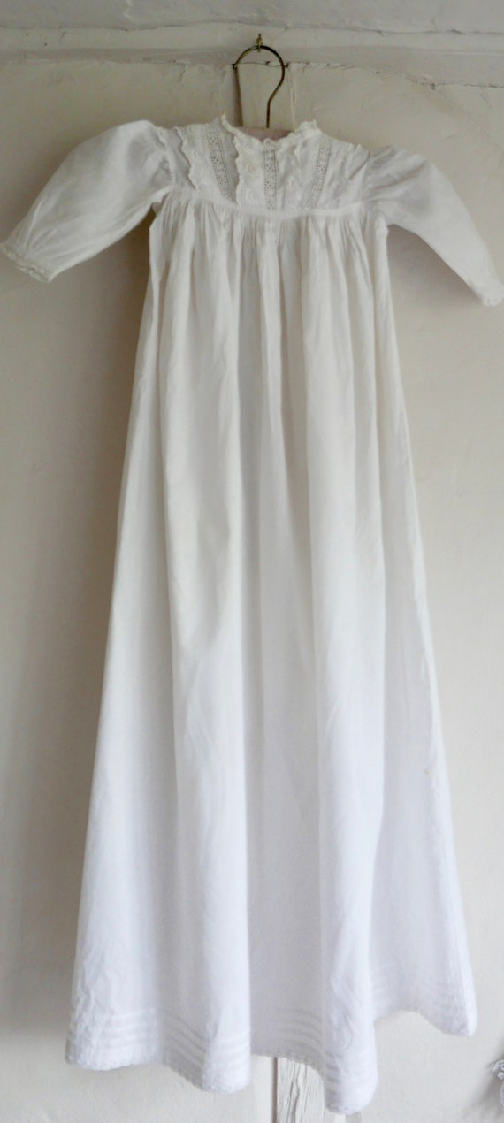 Antique Baby Christening Gown White Cotton Vintage