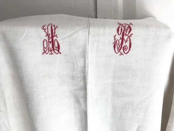 Antique French Linen Metis Sheet Red Monogram AB