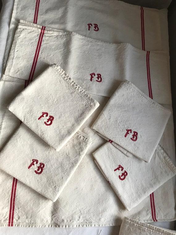Antique Linen Vintage French Tea Towels Monogram Fb Etsy
