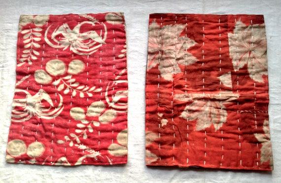 Sets de table matelassés antique Japonais Boro Place tapis Patchwork Textile. 19C Vintage tissu lin & coton / cousu à la main lin rouge
