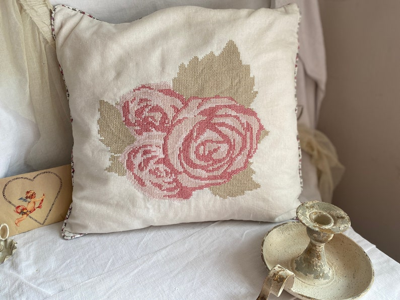 Vintage Cushion Cover Floral Pink Roses Pattern / French Home image 0