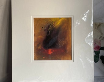 Vintage Abstract Print, Deep Cave by British Artist Kenneth Draper. Mid Century Home Decor. Decorative Arts / Mounted Unframed