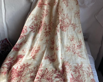 Vintage Fabric, Antique Floral Fabric Panels, Faded Floral Silk. French Textile. Furnishing Projects, French Decor. Decorative Fun /