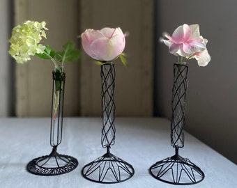 Single Stem Vase. Wire & Test Tube Vase. Black Clear Vessel for Posies. Vintage Industrial, Wedding Home Christmas Decor- Floral Table