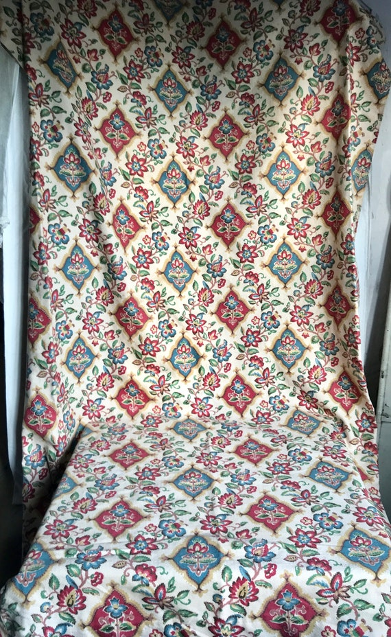 Vintage Retro French Jacobean Botanical Floral Cotton Fabric ~ Brown Green Gold