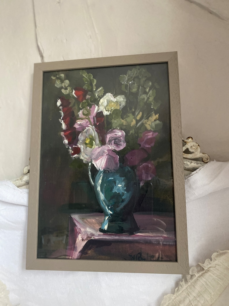 Vintage Oil Painting Floral Still Life/ Pink Poppies Red image 0