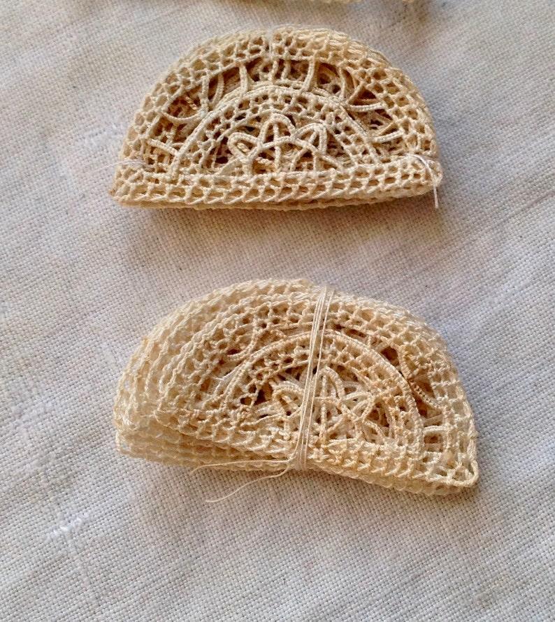 Antique Lace Appliqu\u00e9s 9pc Handmade Mezzaluna Half Moon Design Inserts French Cotton Primitive Vintage Wedding /& Dolls Something Old