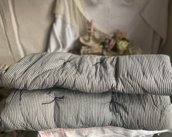 Vintage Style Mat, White Navy Ticking Mattress. Garden Lounge Bench Chair Furnishings/ Yoga Pilates Hygge Cosy Home 1pc