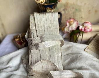 Antique Metallic Tape. Vintage Silver Ribbon. Millinery Tape Trim, 1920s Haberdashery. Vintage Wedding & Period Costume. Titanic Era / 1m