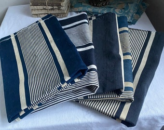 """Antique Fabric. Denim Blue Ticking, Vintage Fabric Cotton Stripes, French Cushion Cover / Furnishing & Upholstery, 25"""" /Interiors Textile"""