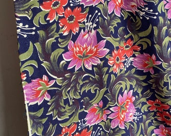 Vintage Fabric Panel, Block Printed Cotton. Pink Red Flowers. Medium Weight Arts & Crafts Textile. Furnishings Home Decor