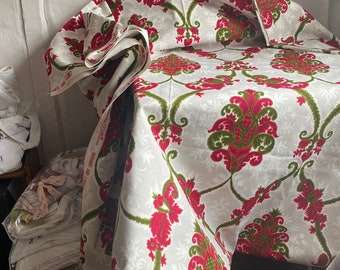 """Vintage Fabric. Green Red & White Damask Print, Cotton Furnishing Fabric /French Home, Decor Projects Textile, 40"""" x 50"""", limited stock!"""