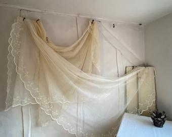Vintage Lace Curtain Panel - Lace Net Veil French Home Decor Vintage Wedding Styling & Period Drama Props / Miss Havisham