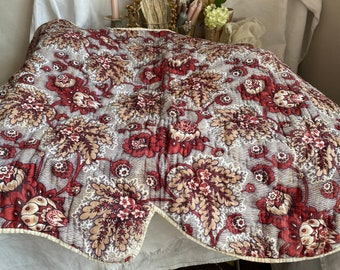 Antique Fabric, French Quilt. Picotage Pelmet Valance, 19C Textiles French Chateau Chic, Decorative Antiques & Home Decor. Period Drama