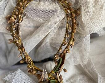 Edwardian Wedding Tiara, Antique Wax Flowers Buds & Rhinestones. Vintage Fairy Crown/ Bridesmaids. Period Costume Drama. Bridal. Boudoir