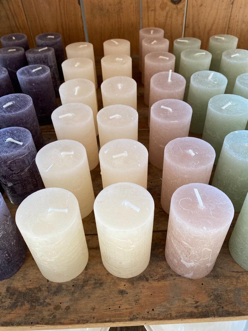 2 x Pillar Candle Rustic Decor 16h Pink Green Honey/ Home image 0