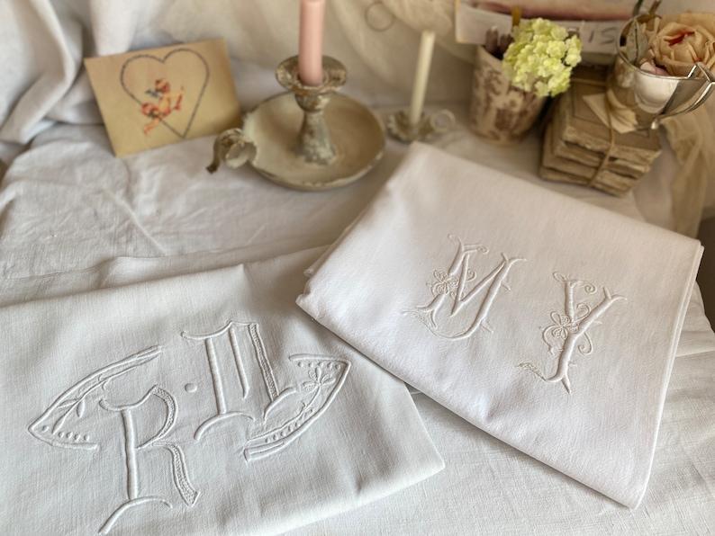 Vintage Fabric. Monogram RM or MY White Cotton / Linen Panel. image 0