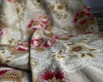 Antique Fabric, Vintage French Fabric. Cotton Cretonne Textile, Art Nouveau Panel, Pink & Honey Floral Textile - Decorative Antiques