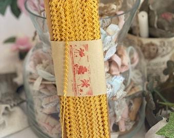 Vintage French Ric Rac, Yellow Cotton Tape Antique Haberdashery Period Costume, Vintage Dresses, Dolls & Bears Vintage Haberdashery 25m