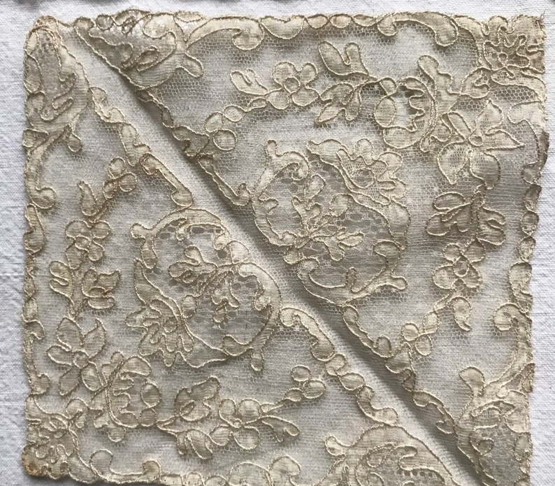 Antique Lace Appliqu\u00e9s 3pc Needlepoint /& Fillet Lace Inserts White Cream Mats French Convent Find Vintage Wedding Dolls Period Costume