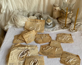 Antique Silk Lace Appliques. Plummetis, Express Monograms J, N, K, H, P,  O/  Vintage Wedding & Furnishings French Appliques / ONE pc / OOAK