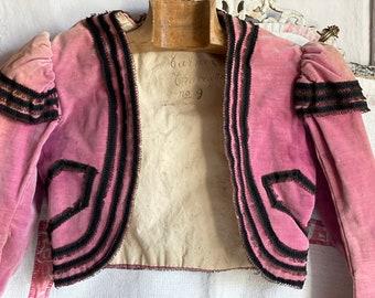 Antique Opera Costume, Pink Bolero, Carmen! Authentic 1800s French Theatrical Costume Pink Velvet & Black Trim. Museum Piece