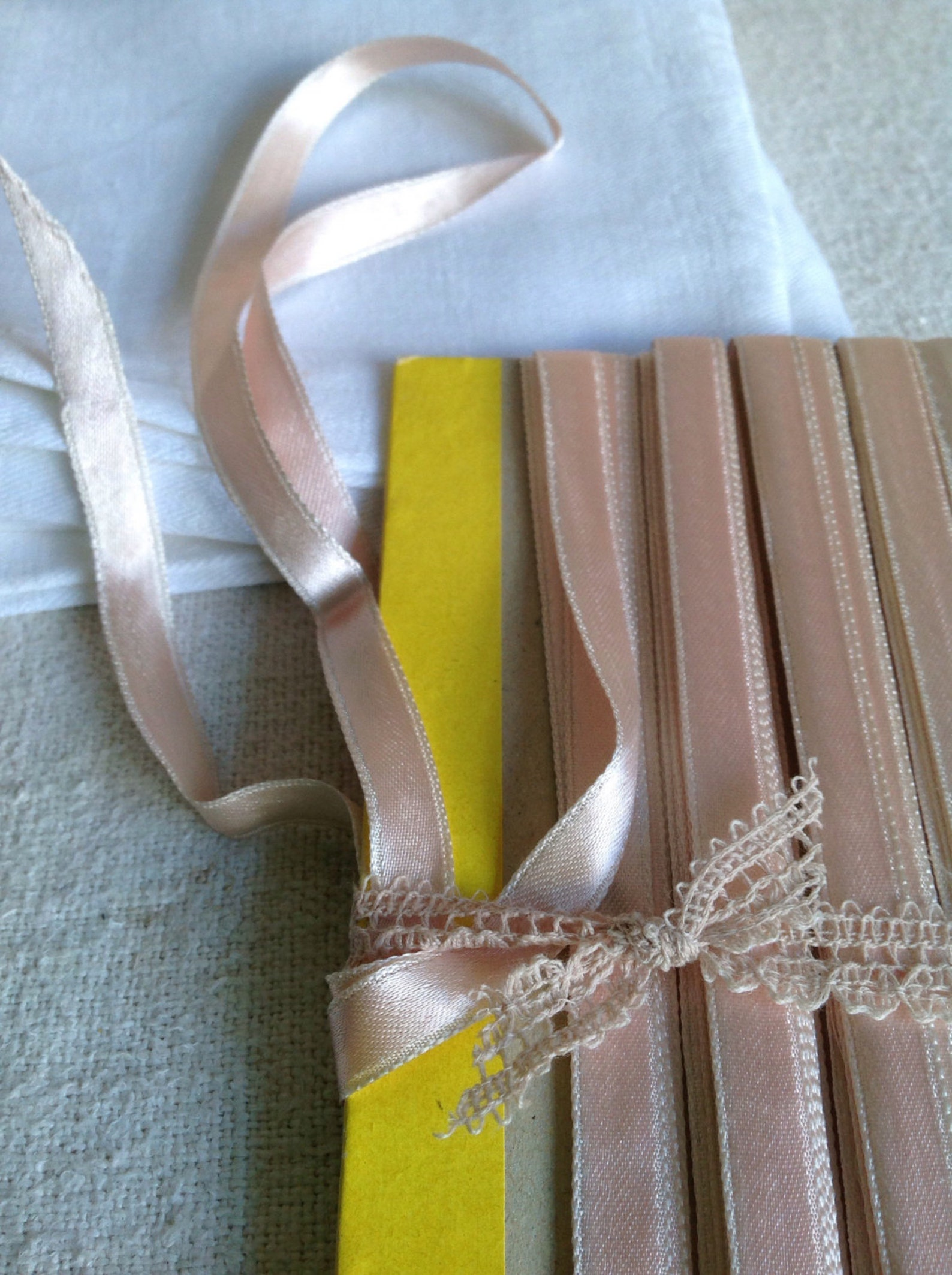 vintage tape ribbon. pink satin trim. wedding bouquets, dolls & ballet. 3m vintage haberdashery new old stock